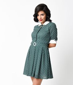 pending $40- brand new, size UK 18 (US 16, XXL), adorable vintage style dress from Collectif. This reminds me a lot of the Trashy Diva Sweetie dresses! No stretch, so I sized up to the UK 18----- Collectif 1960s Mod Green & White Dot B&B Mona Flare Dress