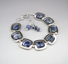 Denim Blue Sodalite Bracelet Silver and Blue by TouchOfSilver