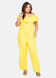 7fe8384c232 Fashion Bug Plus Size Ruffle Off-Shoulder Linen Jumpsuit  FashionBug   PlusSize  Jumpsuits