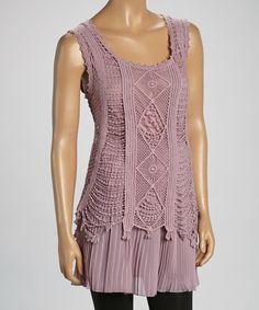 Pretty Angel Mauve Linen-Blend Sleeveless Tunic by Pretty Angel #zulily #zulilyfinds