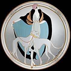 Love, love,love,love!!!!!!  qb flapper with greyhounds art deco compact