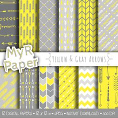 """Arrow digital paper: """"YELLOW & GRAY ARROWS"""" digital paper pack of backgrounds in grey and yellow with arrow and chevron di MyRpaper su Etsy With #love by @myrpaper #pattern #design #graphic #paperdesign #papercraft #scrapbooking #digitalpaper"""