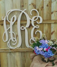 24 Inch Wooden Monogram  Unfinished Vine Script by MattieVs, $24.00
