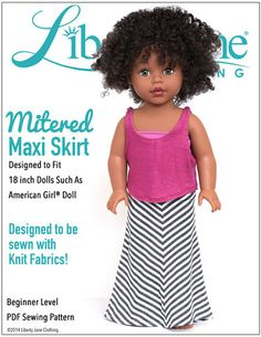 Liberty Jane Mitered Maxi Skirt Doll Clothes Pattern 18 inch American Girl Dolls | Pixie Faire