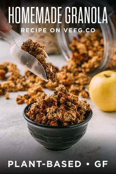 The most delicious recipes begin with the most delicious ingredients, so, when you start those cookies or cheesecake crust or super simple chocolate bark with this easy homemade granola, you can bet it's going to taste really, really, good!  Recipes by VEEG are #wholefoodplantbased #vegan #plantbased #oilfree #dairyfree #refinedsugarfree with no highly processed ingredients, and #glutenfree   veeg.co Dairy Free Recipes, Vegan Recipes, Delicious Recipes, Tasty, Healthy Vegan Breakfast, Healthy Food, Perfect Breakfast, Breakfast Ideas, Easy Granola Recipe