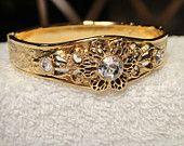 Vintage Bracelet with Carved Filigree Design