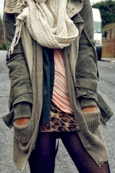 Casual Fall Outfit With Cardigan,Scarf and Jacket