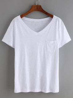 Shop White V Neck Pocket T-Shirt online. SheIn offers White V Neck Pocket T-Shirt & more to fit your fashionable needs. Boys Shirts, T Shirts For Women, Fashion Jackson, Latest T Shirt, Shirt Mockup, White T, White V Necks, Summer Fashion Outfits, T Shirt Diy