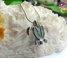 Sea Turtle Sea Glass Necklace Locket aqua blue seaglass Hawaiian Honu jewelry by Mermaid Tears Hawaii on Etsy, $25.00