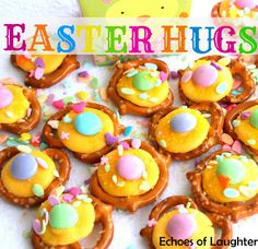 Easter Pretzel Hugs...made with yellow candy melts, Easter sprinkles, pastel M&M'S, and pretzels. 250 oven until candy melt gets a little soft.