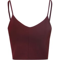 Burgundy Spaghetti Strap Crop Top (32 AUD) ❤ liked on Polyvore featuring tops, crop tops, shirts, tank tops, burgundy, burgundy top, burgundy shirt, party shirts, v neck shirts and crop top