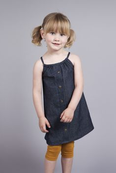 $30 Denim Dress for girls with adjustable drawstring and metal button detail Girls Dresses, Flower Girl Dresses, Summer Dresses, Metal Buttons, Kids Clothing, Boy Or Girl, Kids Outfits, Trending Outfits, Detail