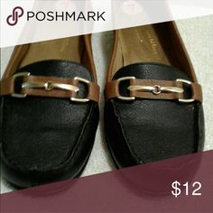 A2 by Aerosole Women's Loafers. Comfortable black and brown leather loafers with  gold metal detail. Used with some wear. A2 By Aerosoles Shoes Flats & Loafers