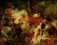 Eugène Delacroix, Death of Sardanapalus, taking its Orientalist subject from a play by Lord Byron. Mixing death and sex, oriental as in Middle East Ottoman, Romantic painter Delacroix. Note the elephant head in the painting's center. Louvre Museum, Art Museum, Delacroix Paintings, Eugène Delacroix, Romanticism Artists, Romanticism Paintings, Louvre Paris, William Turner, Philadelphia Museum Of Art