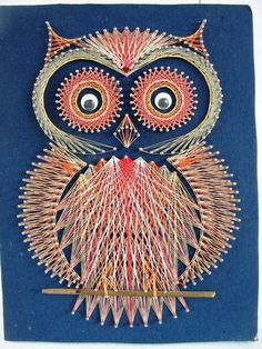 Owl string art, cute little fellow sitting on the wall