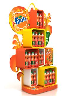 Fun with Fanta POS display. Point of sale. Point of purchase. Pos Display, Store Displays, Display Design, Booth Design, Display Stands, Banner Design, Display Ideas, Point Of Sale, Point Of Purchase