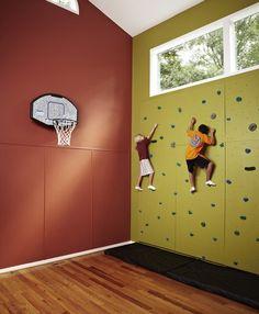 climbing wall and indoor basketball