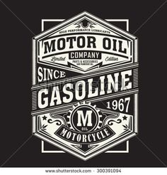 Motor gasoline typography, t-shirt graphics, vectors