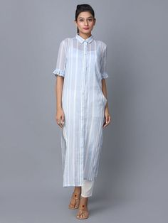 White Blue Striped Cotton Kurta - All About Simple Kurta Designs, Kurta Designs Women, Kurti Neck Designs, Blouse Designs, Kurta Patterns, Kurta Style, Kurti Embroidery Design, Casual Formal Dresses, Collor