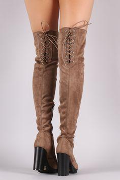 Wild Diva Lounge Back Lace Up Lug Sole Chunky Heeled Boots