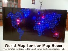 World Map made by Kim LeClaire for Agency D3. I am going to suspend this from the ceiling in our Map Room (missions). I will use the Communicator Ball I made with it. They were made to replicimages on the Super Duper Backdrop.