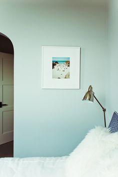 sneak peek of Camille Styles home on design*sponge Light Blue Rooms, Summer Color Palettes, Pale Blue Walls, Haint Blue, Seafoam Color, Bleu Pastel, Dark Interiors, Blue Design, Houses