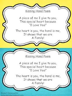 The Kissing Hand poem - for September, but could also work for Father's / Mother's gift!!!!