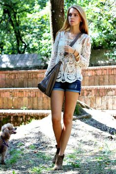 Caramode: Lace Top #ootd #lace #denim