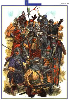 Army of the Grand Duchy of Lithuania at the Battle of Grunwald 1. Voivod Troksky gonfalon (West European type weapons except of the Golden Horde horse mask). 2. The centurion Vilna gonfalon (weapons Polish-Lithuanian type). 3. Noble horse Spearman (1st line order) Grodno gonfalon (weapons Lithuanian type). 4. Bugler gonfalon Vitebsk (weapons mixed Russian and Polish type). 5. Dismounted ganger Kovno gonfalon (weapons mixed Lithuanian, Polish and Tatar type). 6. On foot Spearman Mednitsa…
