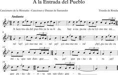A la Entrada del Pueblo. Cancionero de las Montañas. Canciones de Santander