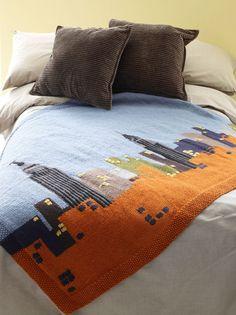 Lion Brand knitting patterns: NYC Skyline Afghan, download on LoveKnitting