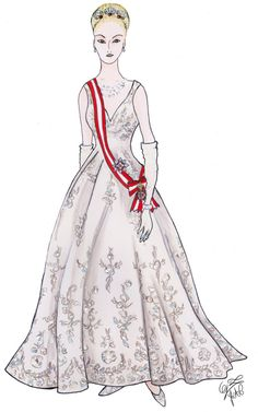 Gigi LePage sketch...Swarovski came on board for the realization of the crystal ball gown.