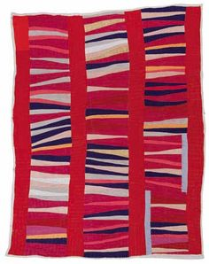 The Quilts of Gee's Bend: Jessie T. Pettway (b. 1929), Bars and String-Piece Columns, 1950s, cotton, 95x76 inches