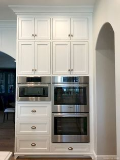 New Classic White Kitchen – Renovation Inspiration Shaker Cabinet. Oven wall cabinet with shaker doors. Shaker kitchen cabinets oven wall Home Bunch Interior Design Kitchen Cabinets Decor, Farmhouse Kitchen Cabinets, Modern Farmhouse Kitchens, Kitchen Cabinet Design, Kitchen Redo, New Kitchen, Kitchen Ideas, Rustic Farmhouse, Wood Cabinets