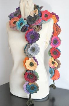 Floral Fall Long Multicolor Crochet Flowers long Scarf