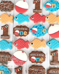 O Fish Ally One Decorated Sugar Cookies - Birthday Party- Reeling In The Big One