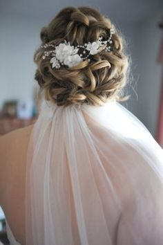 low updo with veil and flowers - Wedding Hair Styles Prom Hairstyles For Short Hair, Wedding Hairstyles With Veil, Bride Hairstyles, Messy Hairstyles, Bridal Hair Updo With Veil, Bridesmaid Hair Updo, Low Updo, Hairdo Wedding, Bridal Hair And Makeup