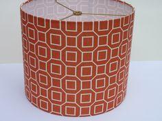 Drum Lamp Shade in Orange Geometric Fabric by LampShadeDesigns. $65.00, via Etsy.
