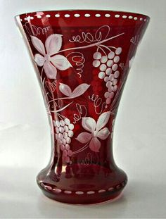 Egermann Ruby Cut to Clear Large Trumpet Vase Grapes