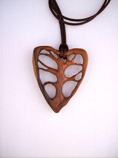 Wood Pendant, Tree of Life Pendant, Wooden Jewelry, Wooden Heart Jewelry, Tree…