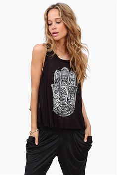 Protection Hamsa Tank ➨  http://www.necessaryclothing.com/tops/Back-In-Stock/NCC10371-Protection-Hamsa-Tank-in-Black?via=HardPin=type337