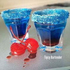 The Blue Peach Shot is a deep blue layered shot. This shot also tastes even better than it looks. This shit is made from: Peach Schnapps, Blue Curacao, and Cherry Syrup. Blue Drinks, Summer Drinks, Mixed Drinks, Non Alcoholic Drinks, Beverages, Cocktail Shots, Tipsy Bartender, Back In The Game, Blue Peach