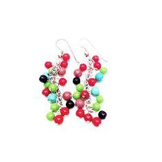 Boucles d'oreilles création la bijouterie Toulouse en agate rouge, bleue, verte et onyx noir