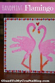 Glued to my Crafts: Handprint Flamingo {Kid Canvas Craft}
