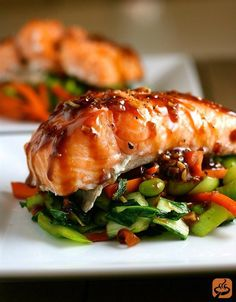 Asian Slow-Roasted Salmon Tender sesame-glazed salmon fillets on a bed of baby bok choy, carrots, and edamame. Salmon Recipes, Fish Recipes, Seafood Recipes, Asian Recipes, Dinner Recipes, Cooking Recipes, Healthy Recipes, Salmon Food, Paleo Dinner