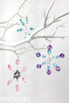 Beaded Pipe Cleaner Snowflakes Ornaments DIY - Red Ted Art - Make crafting with kids easy & fun
