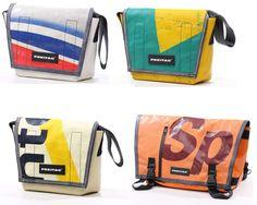 RECICLAGEM : bolsas suiças estilosas feitas de lona de caminhão.Muito show.  Acesse mais aqui : http://www.freitag.ch
