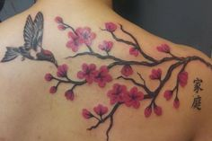 Bird and Cherry Blossom Tattoo