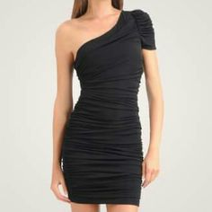 Black One Shoulder Dress Worn once! Beautiful ruching down the whole dress. One shouldered. Very comfortable stretch fabric. Forever 21 Dresses One Shoulder
