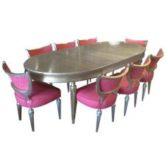 Hollywood Regency Dining Suite in the Style of James Mont   From a unique collection of antique and modern dining room sets at https://www.1stdibs.com/furniture/tables/dining-room-sets/
